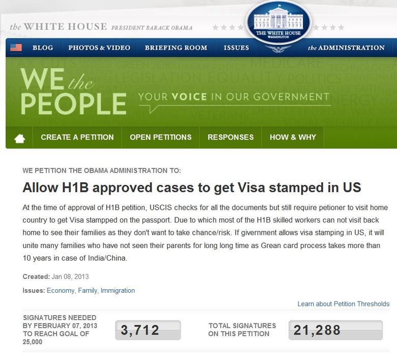 Allow H1B to get Visa stamped in US - Sajha Mobile